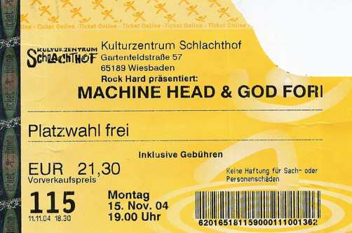 Machine Head, Caliban und God Forbid in der Schlachthof, 2004